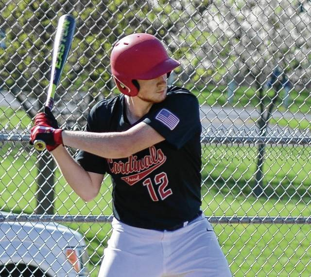 Triad's Jacob Greve takes a cut at a pitch against Mechanicsburg on Tuesday.
