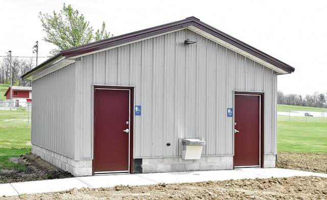 The city of Urbana's newest public restroom facility, pictured, is now open at Melvin Miller Park. The facility, located near the Pony League announcer booth/concession stand, will be open during ballgames, but closed once the activities are concluded for the day.