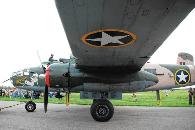 In this <em>Daily Citizen</em> file photo, a B-25 Mitchell bomber makes its way down a taxi lane at Grimes Field during a gathering of the WWII aircraft in 2010. Known as &#8220;Yellow Rose,&#8221; the B-25 is operated by the Commemorative Air Force Central Texas Wing.
