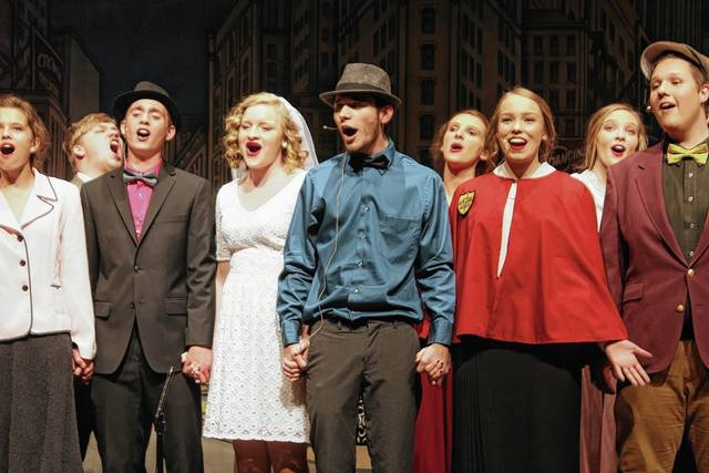 """Graham High School will present the musical """"Guys and Dolls"""" on Friday, April 7 at 7 p.m. and Saturday, April 8 at 7 p.m. in the Graham Middle School Auditeria. Tickets are $8 and are available for reserved seating before the shows. Tickets will also be available at the door on a first come, first served basis. For more information or tickets, call 937-663-5339 ext. 3408 or email GHSTickets@gmail.com. Pictured from left (front row) in the dress rehearsal photo are Ashton Arnett, Mark Hughes, Adrian Blanken, Dillon Fagan, Claire Comer, Gabe Wier."""