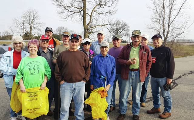 The cleanup group poses for a photo before cleanup begins.