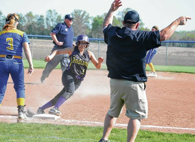 Mechanicsburg's Bella Link rounds third for the game's first run against Russia on Tuesday.