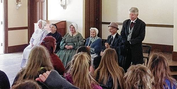 "Urbana Junior High eighth graders learn about the Underground Railroad in Ohio as part of a ""history's mystery"" trip in Columbus. Reenactors reveal the ""secret conductor"" for the mystery."