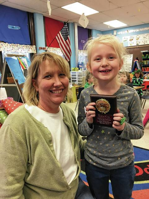 Sophia King is a Student of the Month at Urbana North Elementary. She is shown here with her teacher, Mendie Bowdle.