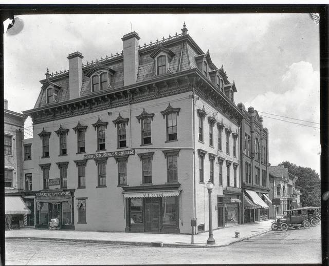 This photo of Moore's Business College, northeast corner of Monument Square, was taken about 1923