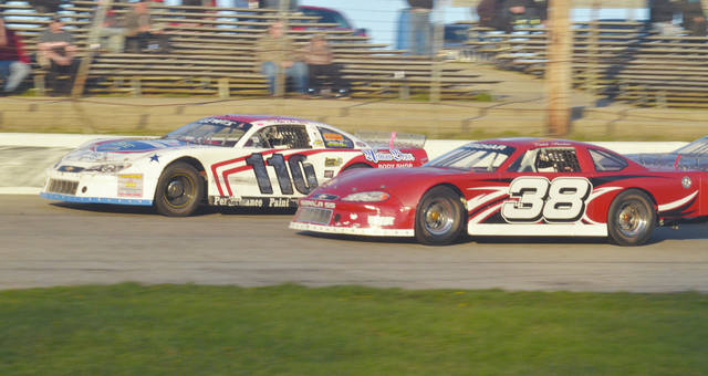 Jim Lewis Jr (110) and Caleb Reschar (38) race in the late model division. Both will be in action at Shady Bowl Speedway this weekend.