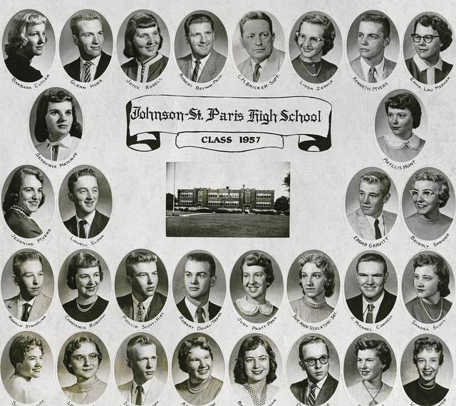 Johnson-St. Paris alumni will reunite June 10 at 5:30 p.m. in the Evans Park Building, St. Paris. All alumni and friends are welcome. The cost is $15. Call 937-663-4034 to make reservations. Dinner will be provided by Lyons Catering, and there will be entertainment. The photo is of the Class of 1957, which will be honored along with the classes of 1947 and 1942.