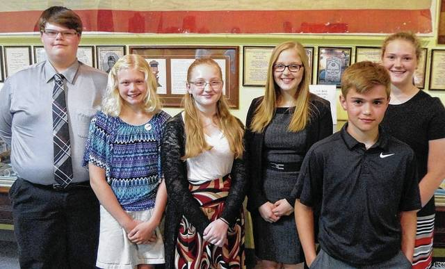 Sixteen Urbana Junior High students were presented with the Judge Evan P. Middleton History Award for demonstrating superior skills in historical research during a ceremony May 24 at the Champaign County Historical Society museum, 809 East Lawn Ave. Students and their families received certificates and family memberships to the historical society. From left are Zach Pence, Lillian Matteson, Raegan Hepp, Paige Martinez, Jonathan Hildebrand and Stephanie Selvaggio. Not in attendance were Kylie Baer, Jenna Campbell, Cali Christian, Eli Colbert, Marah Donahoe, Lainey Hixton, Isabelle Laughbaum, Andrew Pickering, Gatlin Ridgewell and Trey Williams.