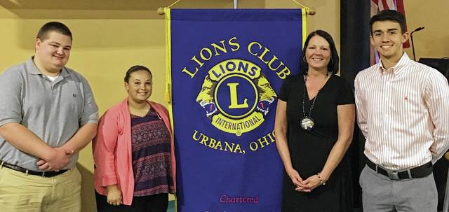 The Urbana Lions Club gave $1,000 scholarships to three students: Connor Prince, who will attend The Ohio State University to major in Meteorology; Bailey Barrett, attending Southern Illinois University and majoring in Hospitality and Tourism; and Cooper Johnson, attending Ohio Dominican and majoring in Economics & Finance. From left are Prince, Barrett, Lion President Audra Bean and Johnson.
