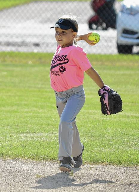 Morgan Hoffman throws the ball back into the diamond from her center field position on Monday when Hoffman's Roofing and Siding took on Roger's Painting and Tree Service in 8u coach pitch softball at Melvin Miller Park.