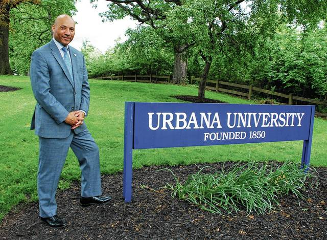 In late April, Franklin University tapped Christopher L. Washington, Ph.D., as Urbana University's newest leader. Washington, whose officially title is executive vice president and provost of UU, is pictured near one of the two main entrances into campus.