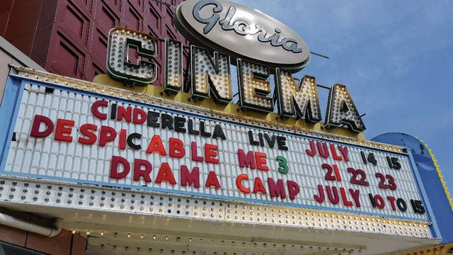 """The Gloria Theatre marquee in downtown Urbana highlights the Missoula Children's Theatre's Friday and Saturday presentation of """"Cinderella,"""" which will feature a cast of young local actors."""