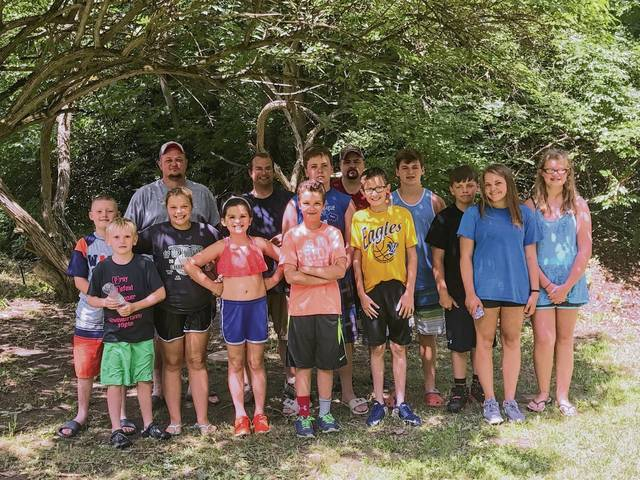 The Backyard Belles and Boys met for canoeing in June and will meet to decorate for fair this weekend. Pictured are (back row): Jason Blackford, Nick Lewis, Avery McGuire, Daniel Snyder, Oliver McGuire, Jackson Underwood. (front row): Isaac Blackford, Grady Underwood, Sarah Lewis, Essie McGuire, Andrew Lewis, Tyler Snyder, Lauren Underwood, Zoey Underwood.