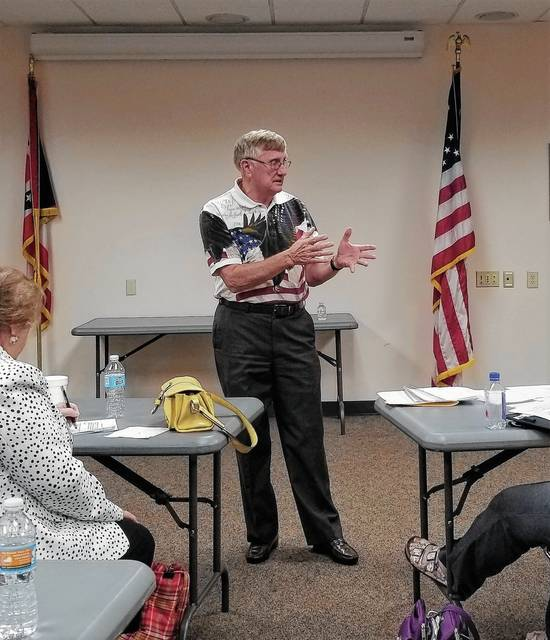 Mr. Bob Cawley explaining to the Champaign County Republican Women's Club how God influenced the American Revolution.