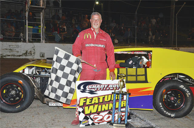 Mike Carroll (pictured) of Kettering won his first modified feature of the season last Saturday night at Shady Bowl Speedway.