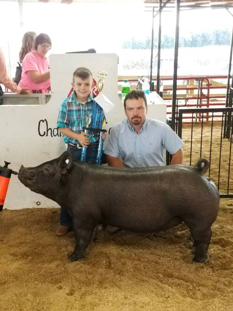 Champion breeding gilt Champaign county fair. Shown by Kole Bishop
