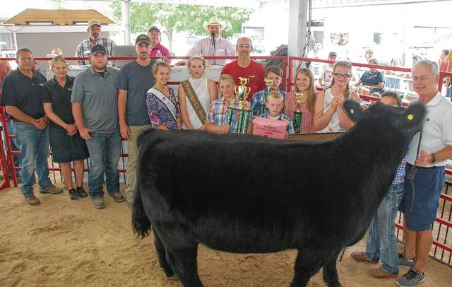 Andrew Lewis' Reserve Champion Steer and Cattleman's Champion Steer sold for $1,250 to a syndicate of buyers.