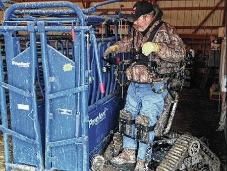 An all-terrain track chair can assist a farmer challenged by walking for long distances.