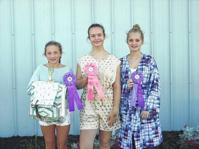 (left to right) Loungewear – Lauren Woodruff (State Fair Delegate & Rosette), Savannah Alltop (Honorable Mention), Taylor DeMoss (Rosette)