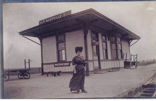 This photo is of the Westville Railroad Depot (circa 1900) with an unidentified passenger (#A1562, Champaign County Historical Society collection).