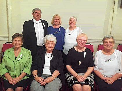 At a meeting of Urbana Chapter 530, Order of the Eastern Star, the following were recognized for their years of dedication to the Order: front from left, Sue Dill-45 years; Sondra Poling-40 years; Virginia Cahoon-50 years; Pennie Brown-50 years; back row, John Pience-40 years; Darcy Baker-40 years; Leta Gunnell-40 years; attending, but not in photo, Ann Louise Parsons and Floy (Bud) Parsons-65 years; unable to attend, Leon Callicoat-40 years, Sandra Detwiler-45 years, Curt Huhn-45 years, Sandra Morris-45 years, Fonda Lou Eaton-60 years, Nancy Burroughs-65 years.