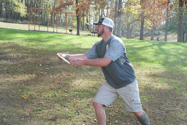 Michael Creager was one of approximately 100 participants in the third annual Hilltop Charity Classic disc golf tournament held on the course east of Melvin Miller Park in Urbana on Saturday. The tournament raised $700 for the Caring Kitchen, according to event organizers.