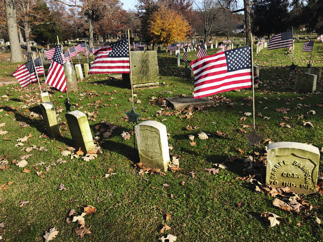 Soldiers' Mound at Oak Dale Cemetery is pictured in a photo from earlier this month.
