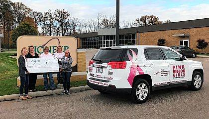 Members of Pioneer's employee breast cancer awareness committee presented a check to Pink Ribbon Girls for $2,214.68 on Nov. 6. The donation was largely employee-driven and all funds will help those in Pioneer's local communities, including Champaign County.