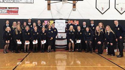 Urbana FFA chapter officers attended the annual District 6 fall officer training on Oct. 3 at Greenon High School. Officers met other leaders from different schools as well as State FFA Officer Kolesen McCoy, secretary, and Carly Coppler, vice president at large. Members were served a meal provided by DB Yummers. After the members enjoyed their food, they played a game called guess that song. The songs were country throughout the decades to show how things change. Then officers split into groups and went through four activities. Some activities included teamwork and setting personal goals and showed how FFA has changed over the years.