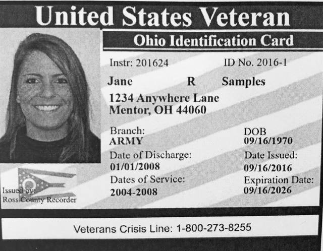 Pictured is an example of a Veterans ID card. Such cards are available starting Monday, Nov. 6, at the Champaign County Recorder's Office in the county Community Center.