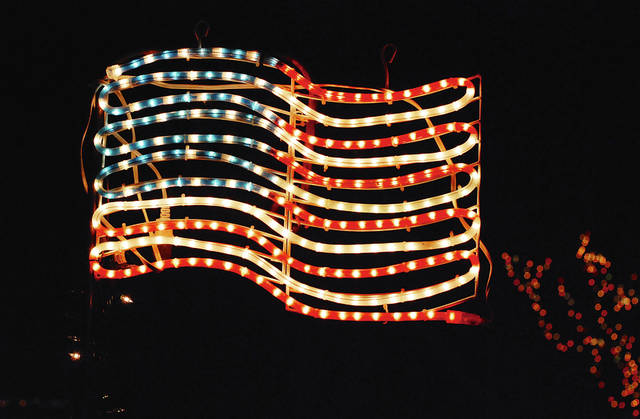 This colorful U.S. flag is on display on Fountain Circle in Urbana.