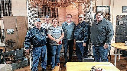 The Sons of the American Legion Squadron 238, Mechanicsburg, donated $1,600 to Blessings Bag, a group that provides weekend meals to school children in need in the Mechanicsburg and Triad school districts. From left are David Cordle Sr., S.A.L. Adjutant; David Cordle Jr., S.A.L. Commander; Randi McDaniel, Blessing Bags; Jim Sanford, S.A.L. Finance Officer; Ed Neville, S.A.L. Vice Commander; Matt Apple, S.A.L. Chaplain.