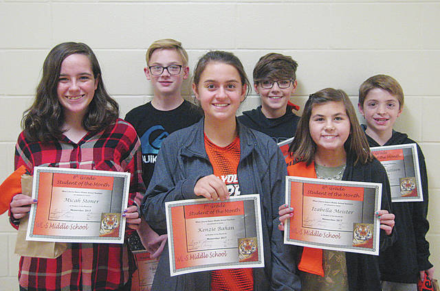 West Liberty-Salem announced its students of the month for November. In the 8th grade, Micah Stoner and Ayden Estep were honored, 7th grade saw Kenzie Bahan and D.J. Yoder honored and 6th grade recognized Izabella Meister and Malachi Christison.