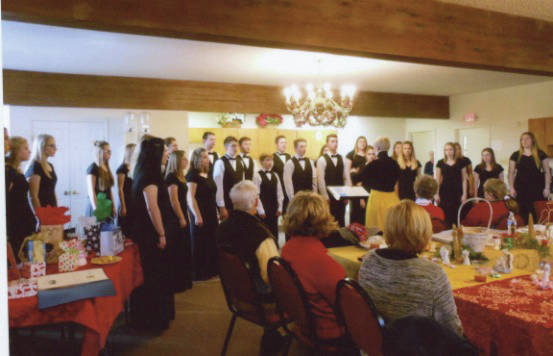 Members attending the CCRTA Christmas luncheon were treated to a program of Christmas music by the Graham High School Varsity Choir, directed by Polly Trenor.