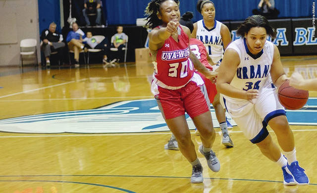 Urbana University's Sylvia Hudson (right) drives to the basket.