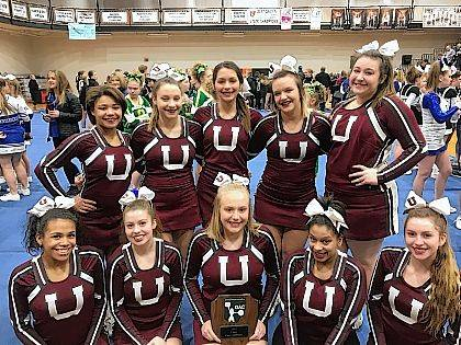 The Urbana High School Competition cheerleaders competed at the Ohio Athletics Committee State Championships and earned 3rd place in the Small/Large Intermediate Division. Members of the team are, front row, Taje Mack, Maginta Grim, Cortney Kiser, Ayanna Chavers, Megan Ridder, back row, Madi Jordan, Mari Artis, Brayden Andrews, Ally Pierce and Mary Habodasz. They are coached by Jenny Payne and Amy Russell. They will be back in action when they compete at The Ohio State University on Jan. 21.
