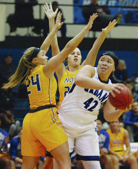 UU's Jazmyn Haley (42) works inside against visiting Notre Dame College on Saturday.