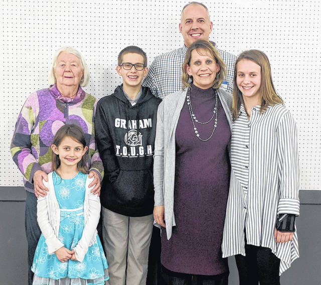 Steve Prince and his family were on hand to accept the Farmer of the Year award during the Urbana Rotary Club's 46th annual Rural Urban Night. Steve and his wife, Dawn, were joined by Steve's mother, Usje, and their three children, Nick, Ava and Olivia.