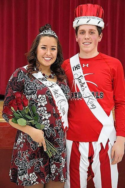 Pictured are 2018 Sadie's King and Queen, Kierstyn 'Kiki' Zizzo and Hadley LeVan. The Sadie's event is part of Triad High School's Winter Homecoming each year. LeVan and Zizzo were honored at Friday night's game, where Triad defeated Fairbanks, 47-44, led by a strong performance from LeVan with a game-high 28 points.