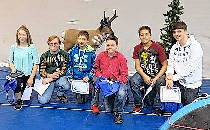 Pictured from left to right are: Kaitlyn Swank, Trever Pence, Carter Smith, and Garrett Cauley (all from Graham Middle School), and Domnick Miller and Christian Hoberty (both from Urbana High School).