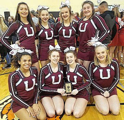 Urbana High School cheerleaders competed at Dayton Stivers High School at the OASSA regional state qualifier competition Feb. 4. Thirty-plus teams competed in divisions I-VI in building, non building and non tumbling divisions. UHS competed in the Division IV non building and qualified for state competition March 4 at St. John's Arena on the OSU campus. Members of the team are Taje Mack, Megan Ridder, Maginta Grim, Cortney Kiser, Brayden Andrews, Mari Artis, Ally Pierce and Mary Habodasz. The team is coached by Jenny Payne and Amy Russell.