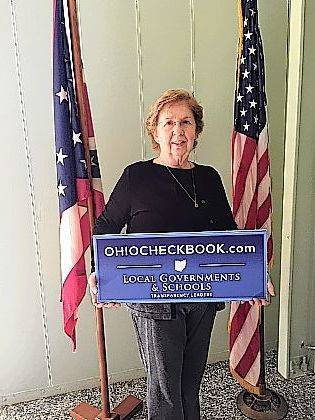 North Lewisburg Mayor Cheryl Hollingsworth celebrates her village's entry into the Ohio Checkbook project.