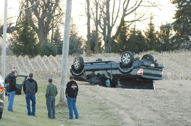 A three-vehicle crash on U.S. Route 36 west of state Route 235 on Tuesday at 5:36 p.m. resulted in injuries to two people, according to a preliminary crash report from the Champaign County Sheriff's Office. In the photo, a vehicle is shown on its top in a field north of Route 36 with first responders attempting to assist the occupant. Johnson St. Paris EMS responded to the crash as did the sheriff's office. Route 36 was closed for a brief time due to the crash. The crash remained under investigation as of Wednesday afternoon.