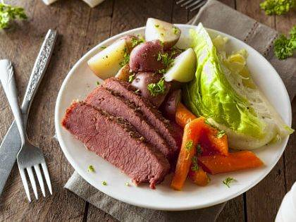 Today's corned beef is brined or cured using a salt water or sodium nitrite mixture, which fixes the pigment in the meat and causes it to be pink.
