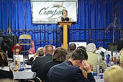 Chamber Executive Director Lydia Hess addresses the crowd at the 2017 annual dinner.