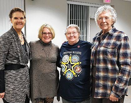 Gathering at the recent Champaign County Republican Women's Club meeting are, from left, Champaign County Clerk of Courts and member of the Breast Friends Forever of Champaign County Penny Underwood; Breast Friends Forever of Champaign County President Kristyn Campbell; and Awards Committee Chairwoman for CCRWC Jerry Ann Violet; and Marilyn Foulk.