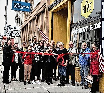 The Champaign County Chamber hosted a ribbon-cutting Feb. 22 at The Market at The Hive, 22 S. Main St., Mechanicsburg. From left are Audra Bean, Hannah Tukesbrey-Killbride, Marcia Bailey, Chamber Executive Director Lydia Hess, Jason Kile, Stacey Rees, McKenzie Shore, Brandon Nichols, owner Lyndsey Murphy, April Huggins Davis, Amy Forrest, Greg Kimball, Paul Kurtz, Carissa Sellman Luza.