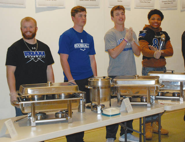 The Urbana University football team helped dish out donated soups from local establishments during the 2018 Empty Bowls fund-raiser on Thursday. For a $15 purchase of each bowl, diners could sample soups provided for the charity event by local restaurants and dining facilities. After dinner, the bowls could be washed out and taken home. Breads were also available to accompany the soups.