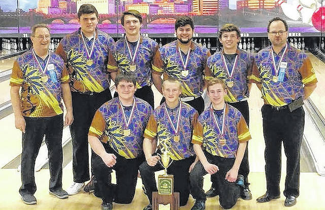 Pictured is the Mechanicsburg boys bowling team, which recently won the Division II state championship. It was the first state title for a boys bowling team at MHS. Front row, left to right, Ethan Edwards, Preston Estep and Deacon Morgan. Back row, left to right, Assistant Coach Bill Mason, Sheldon Adams, Aidan Shelton, Jake Ripley, Caleb Westfall and Head Coach Matt Mayberry.