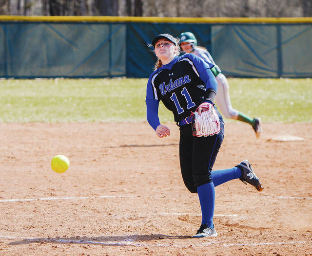 UU freshman pitcher Kayleigh Pate delivers to the plate during Thursday's home doubleheader with Tiffin.